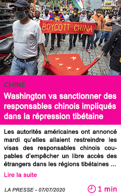 Societe washington va sanctionner des responsables chinois impliques dans la repression tibetaine