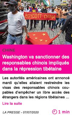 Societe washington va sanctionner des responsables chinois impliques dans la repression tibetaine