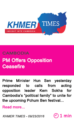 Society pm offers opposition ceasefire