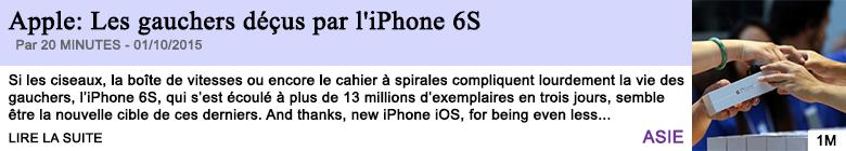 Tech internet apple les gauchers decus par l iphone 6s