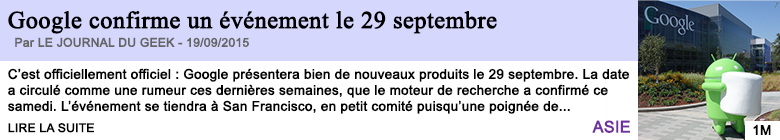 Tech internet google confirme un evenement le 29 septembre