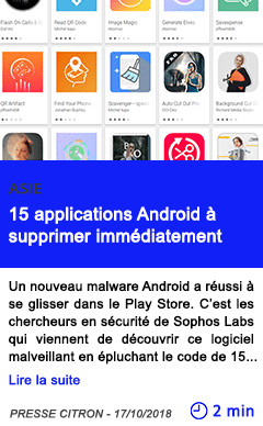 Technologie 15 applications android a supprimer immediatement
