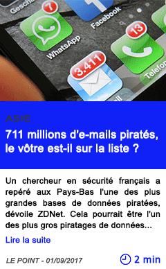Technologie 711 millions d e mails pirates le votre est il sur la liste