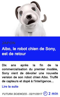 Technologie aibo le robot chien de sony est de retour