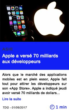 Technologie apple a verse 70 milliards aux developpeurs