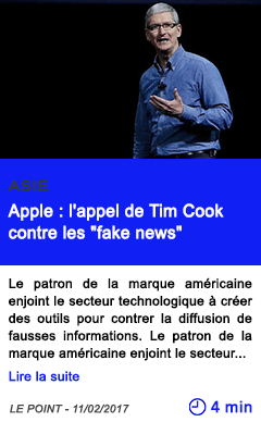 Technologie apple l appel de tim cook contre les fake news