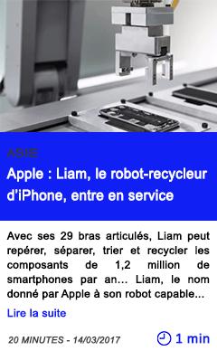 Technologie apple liam le robot recycleur d iphone entre en service
