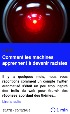 Technologie asie comment les machines apprennent a devenir racistes