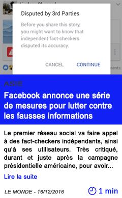 Technologie asie facebook annonce une serie de mesures pour lutter contre les fausses informations