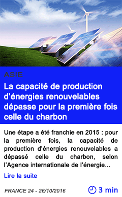 Technologie asie la capacite de production d energies renouvelables depasse pour la premiere fois celle du charbon