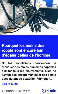 Technologie asie pourquoi les mains des robots sont encore loin d egaler celles de l homme