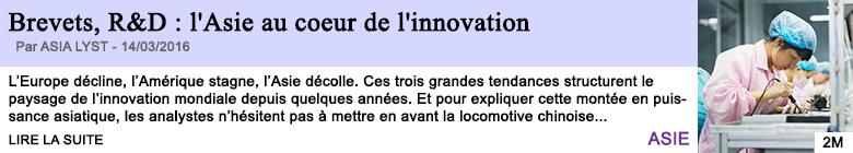 Technologie brevets r d l asie au coeur de l innovation