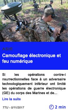 Technologie camouflage electronique et feu numerique