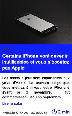 Technologie certains iphone vont devenir inutilisables si vous n ecoutez pas apple