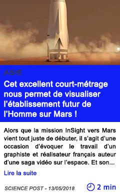 Technologie cet excellent court metrage nous permet de visualiser l etablissement futur de l homme sur mars