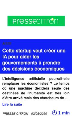 Technologie cette startup veut creer une ia pour aider les gouvernements a prendre des decisions economiques