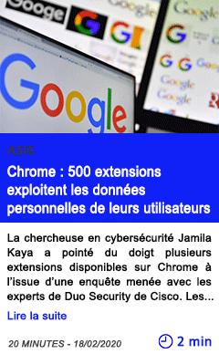 Technologie chrome 500 extensions exploitent les donnees personnelles de leurs utilisateurs