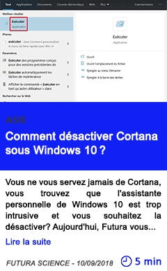 Technologie comment desactiver cortana sous windows 10