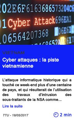 Technologie cyber attaques la piste vietnamienne
