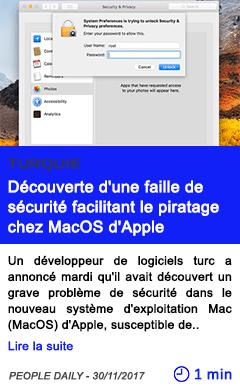 Technologie decouverte d une faille de securite facilitant le piratage chez macos d apple