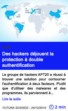 Technologie des hackers dejouent la protection a double authentification