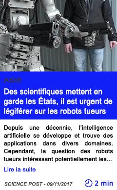Technologie des scientifiques mettent en garde les etats il est urgent de legiferer sur les robots tueurs