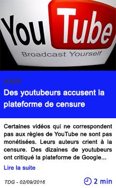 Technologie des youtubeurs accusent la plateforme de censure