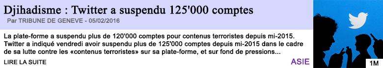 Technologie djihadisme twitter a suspendu 125 000 comptes