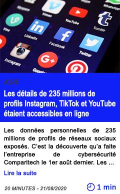 Technologie donnees personnes les details de 235 millions de profils instagram tiktok et youtube etaient accessibles en ligne