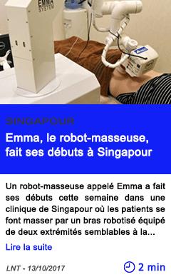 Technologie emma le robot masseuse fait ses debuts a singapour