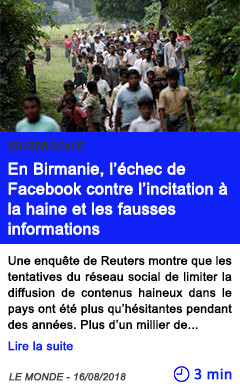 Technologie en birmanie l echec de facebook contre l incitation a la haine et les fausses informations