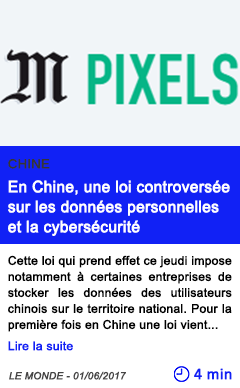 Technologie en chine une loi controversee sur les donnees personnelles et la cybersecurite
