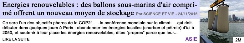 Technologie energies renouvelables des ballons sous marins d air comprime offrent un nouveau moyen de stockage