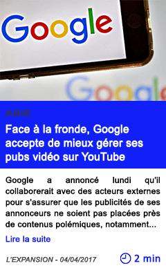 Technologie face a la fronde google accepte de mieux gerer ses pubs video sur youtube
