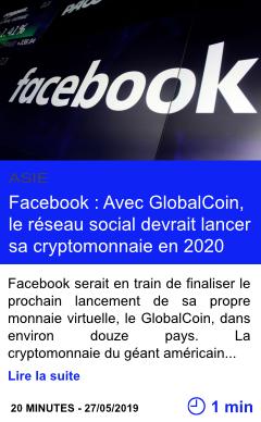 Technologie facebook avec globalcoin le reseau social devrait lancer sa cryptomonnaie en 2020 page001