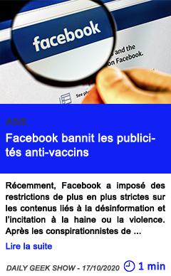 Technologie facebook bannit les publicite s anti vaccins