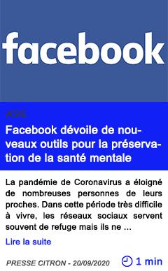 Technologie facebook de voile de nouveaux outils pour la pre servation de la sante mentale