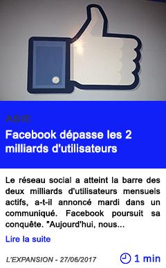 Technologie facebook depasse les 2 milliards d utilisateurs