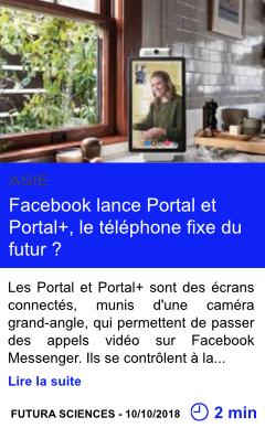 Technologie facebook lance portal et portal le telephone fixe du futur page001