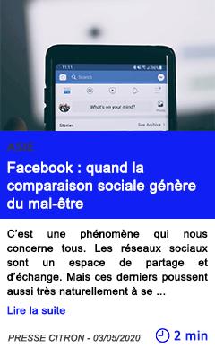 Technologie facebook quand la comparaison sociale genere du mal etre