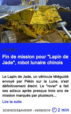 Technologie fin de mission pour lapin de jade robot lunaire chinois