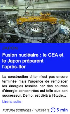 Technologie fusion nucleaire le cea et le japon preparent l apres iter
