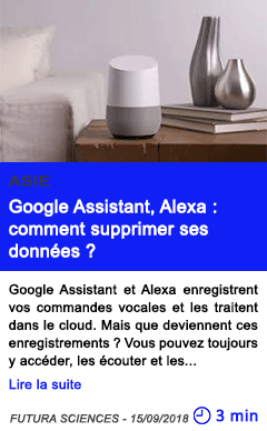 Technologie google assistant alexa comment supprimer ses donnees