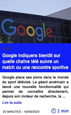 Technologie google indiquera bientot sur quelle chaine tele suivre un match ou une rencontre sportive