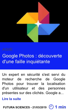 Technologie google photos decouverte d une faille inquietante page001