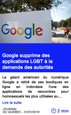 Technologie google supprime des applications lgbt a la demande des autorites