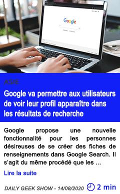 Technologie google va permettre aux utilisateurs de voir leur profil apparaitre dans les resultats de recherche