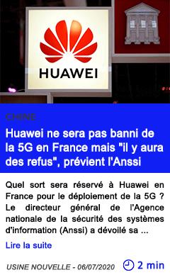 Technologie huawei ne sera pas banni de la 5g en france mais il y aura des refus previent l anssi