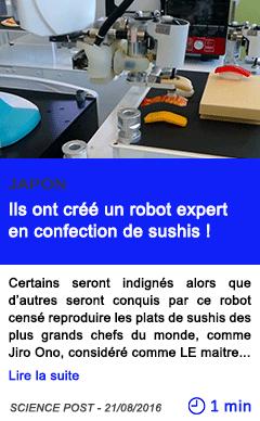 Technologie ils ont cree un robot expert en confection de sushis