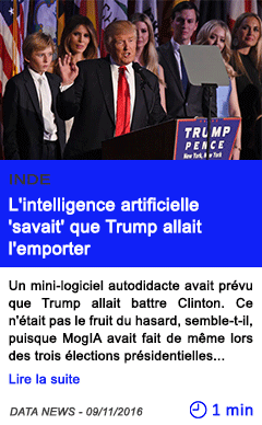 Technologie inde l intelligence artificielle savait que trump allait l emporter